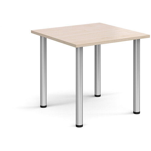 Rectangular silver radial leg meeting table 800mm x 800mm - maple