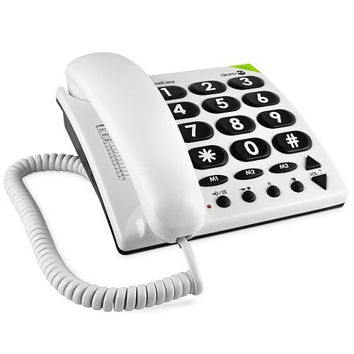 Doro Big Button Corded Telephone In White. Hearing Aid Compatible. Ideal For Use By People With Hearing Or Sight Difficulty. Can Be Wall Mounted.