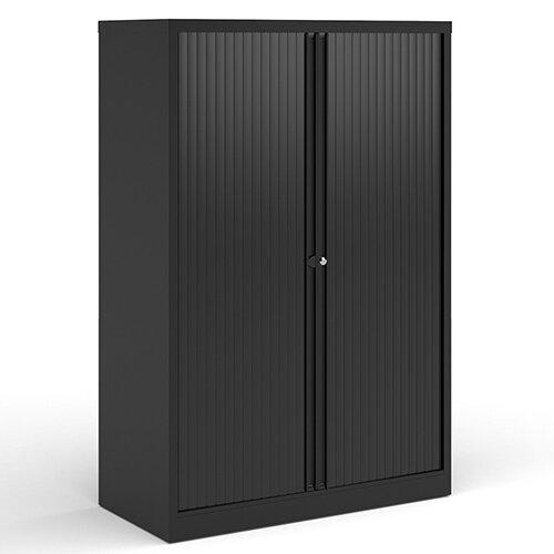 Bisley Systems Storage Medium Tambour Cupboard 1570mm High - Black