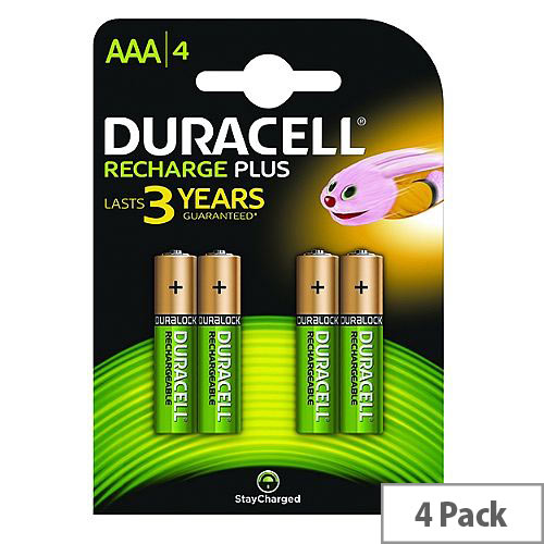 Duracell Stay Charged AAA Rechargeable NiMH 750mAh Batteries (4 Pack) 81364750