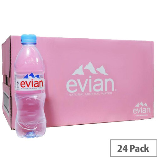Evian Natural Mineral Still Water, Low Sodium, Provides Excellent Hydration, Suitable for Mothers &Babies, Recyclable 500ml Bottle, Pack of 24