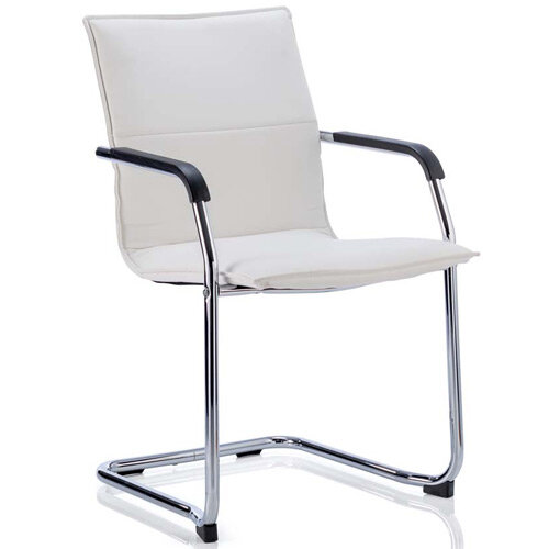 Echo Boardroom &Visitor Cantilever Chair White Bonded Leather With Arms