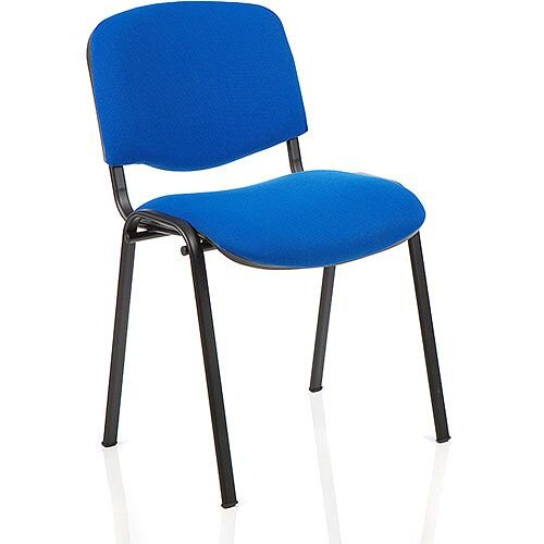 ISO Stacking Chair Blue Fabric Black Frame