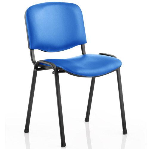 ISO Stacking Chair Blue Vinyl Black Frame
