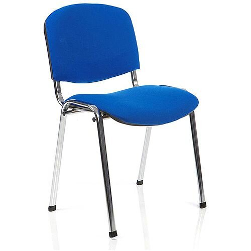 ISO Stacking Chair Blue Fabric Chrome Frame