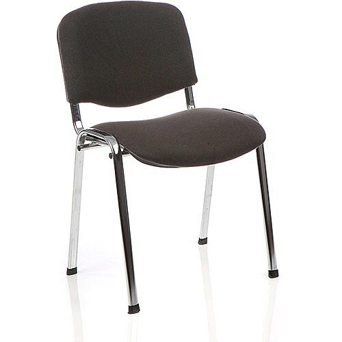 ISO Stacking Chair Charcoal Fabric Chrome Frame