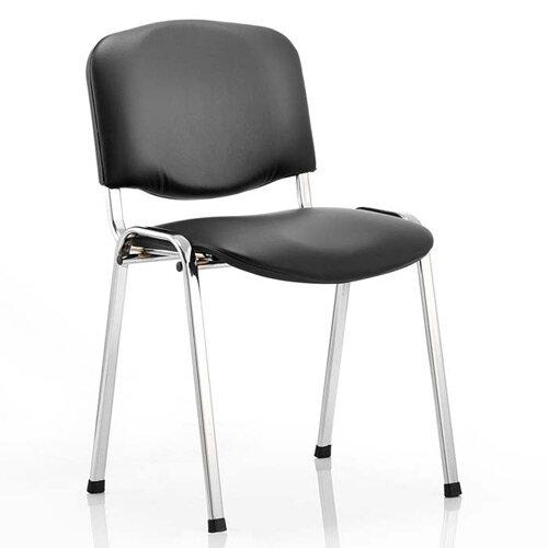 ISO Stacking Chair Black Vinyl Chrome Frame