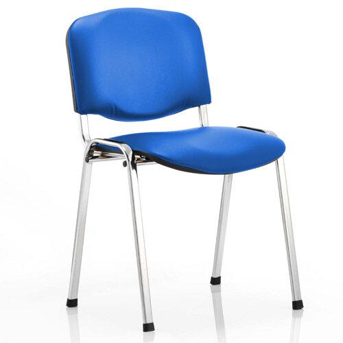 ISO Stacking Chair Blue Vinyl Chrome Frame