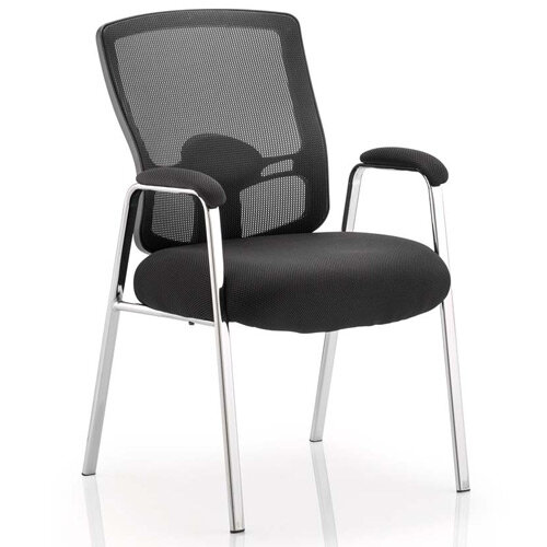 Portland Boardroom &Visitor Straight Leg Chair Black Fabric Black Mesh Back With Arms