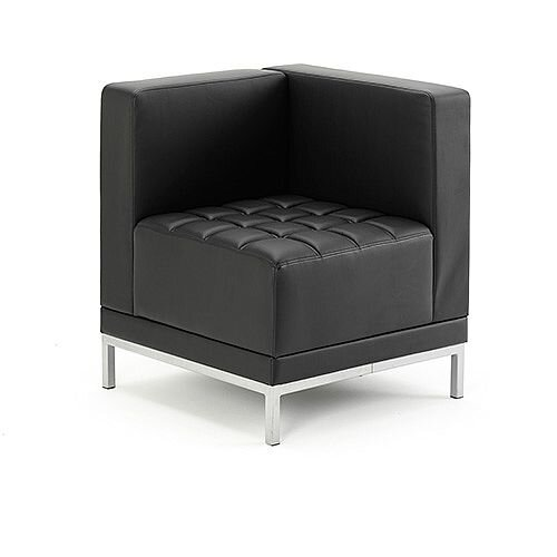 Infinity Modular Reception Corner Unit Sofa Chair Black Bonded Leather