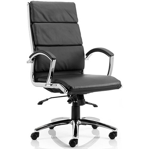 Classic Executive Office Chair Black With Arms High Back