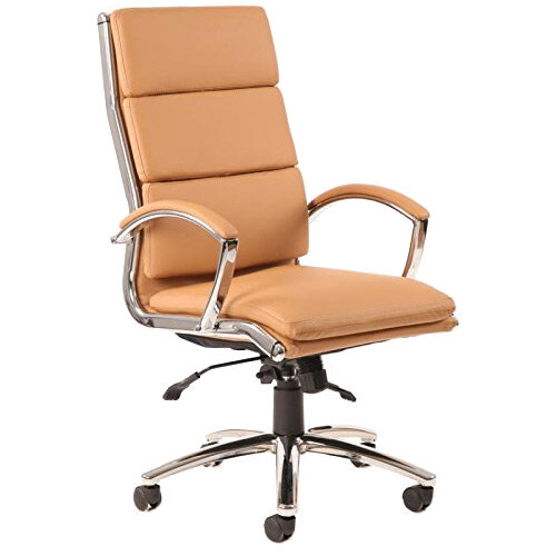 Classic Executive Office Chair Tan With Arms High Back