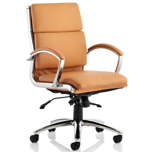 Classic Executive Office Chair Tan With Arms Medium Back