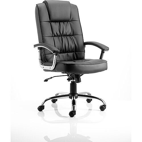 Moore Deluxe Executive Office Chair Black Leather With Arms