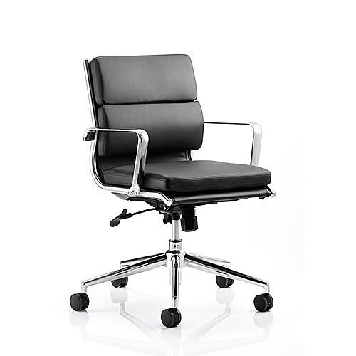 Savoy Executive Office Chair Black Bonded Leather Medium Back With Arms