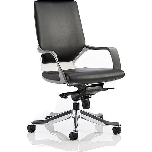 Xenon Executive White Frame Office Chair Black Leather Medium Back With Arms