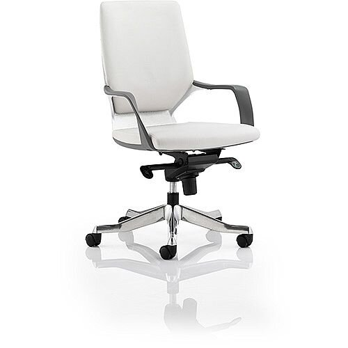 Xenon Executive White Frame Office Chair White Leather Medium Back With Arms