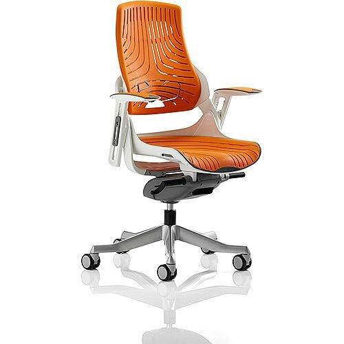 Zure Executive Office Chair Elastomer Gel Orange With Arms