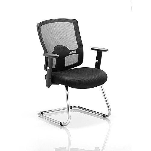 Portland Boardroom &Visitor Cantilever Chair Black Mesh With Arms