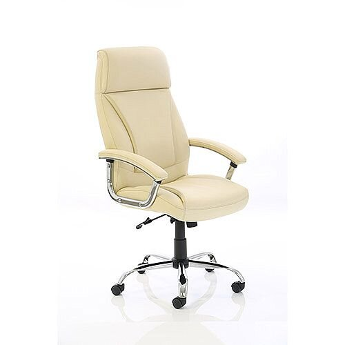 Penza Executive High Back Cream Leather Office Chair With Arms