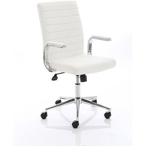 Ezra Executive White Leather Office Chair