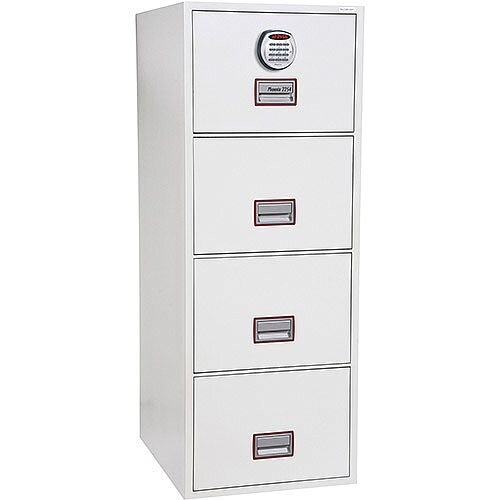 Phoenix World Class Vertical Fire File FS2254E 4 Drawer Filing Cabinet with Electronic Lock White