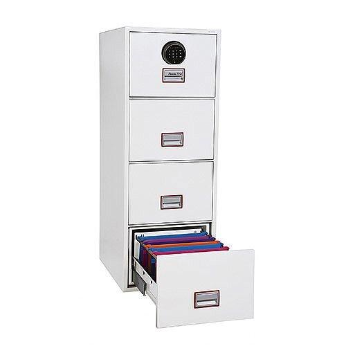 Phoenix World Class Vertical Fire File FS2254F 4 Drawer Filing Cabinet with Fingerprint Lock White