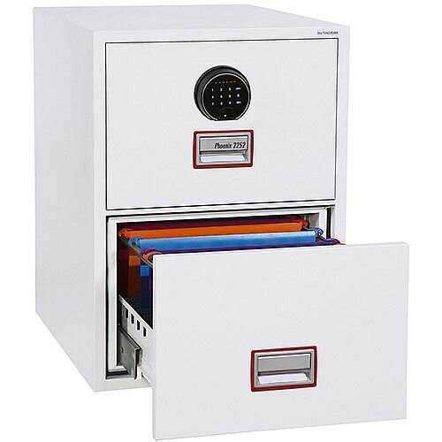 Phoenix World Class Vertical Fire File FS2262F 2 Drawer Filing Cabinet with Fingerprint Lock White