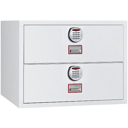 Phoenix World Class Lateral Fire File FS2412E 2 Drawer Filing Cabinet with Electronic Lock White