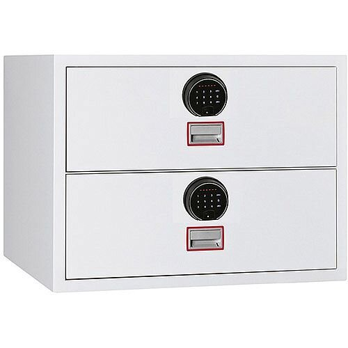Phoenix World Class Lateral Fire File FS2412F 2 Drawer Filing Cabinet with Fingerprint Lock White