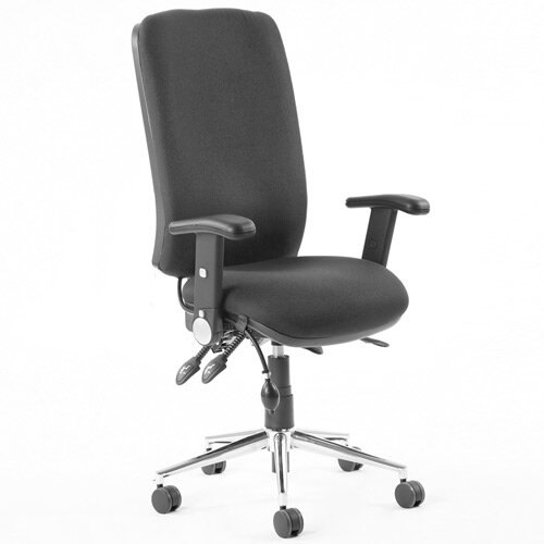 Chiro High Back Task Operator Office Chair Black With Height Adjustable &Folding Arms