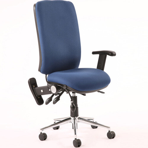 Chiro High Back Task Operator Office Chair Blue With Height Adjustable &Folding Arms