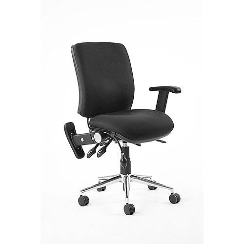 Chiro Medium Back Task Operator Office Chair Black With Height Adjustable &Folding Arms