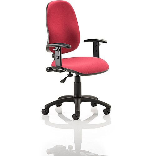 Eclipse I Lever Task Operator Office Chair Wine With Height Adjustable Arms
