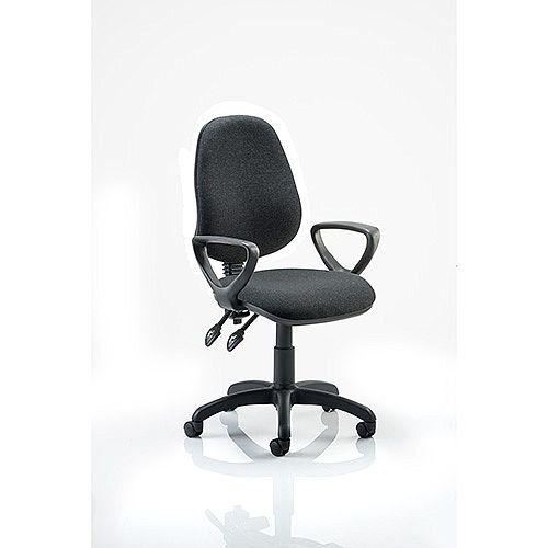 Eclipse II Lever Task Operator Office Chair Charcoal With Loop Arms