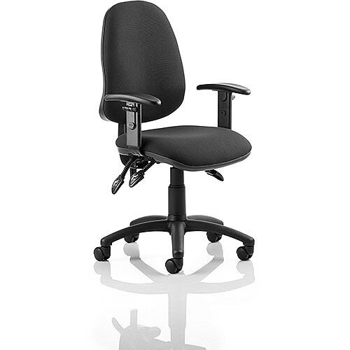 Eclipse III Lever Task Operator Office Chair Black With Height Adjustable Arms, Usage: 8 hours a day, Weight Tolerance: 150kg, Height, Seat and Back Adjustment Mechanism