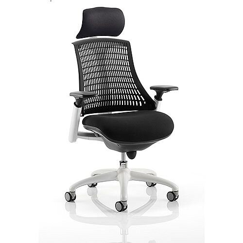 Flex Task Operator Office Chair White Frame Black Fabric Seat With Black Back With Arms &Headrest