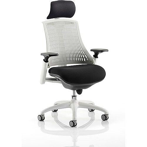 Flex Task Operator Office Chair White Frame Black Fabric Seat With Moonstone White Back With Arms &Headrest