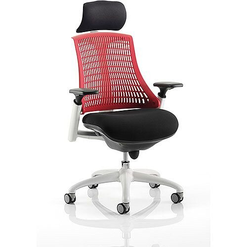 Flex Task Operator Office Chair White Frame Black Fabric Seat With Red Back With Arms &Headrest