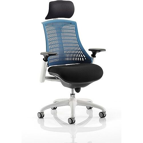 Flex Task Operator Office Chair White Frame Black Fabric Seat With Blue Back With Arms &Headrest