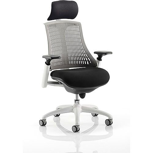 Flex Task Operator Office Chair White Frame Black Fabric Seat With Grey Back With Arms &Headrest