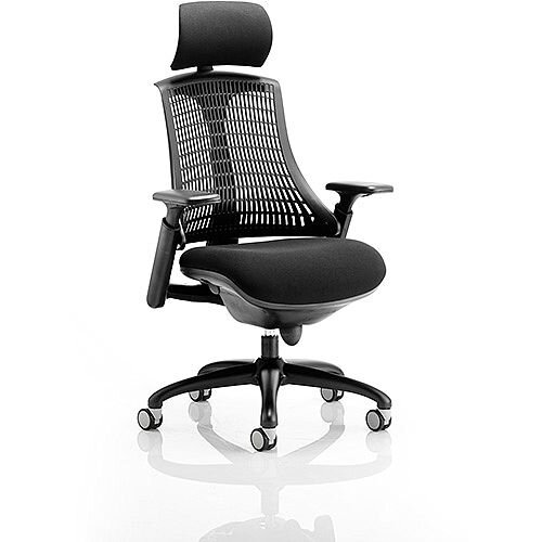 Flex Task Operator Office Chair Black Frame With Black Fabric Seat Black Back With Arms &Headrest