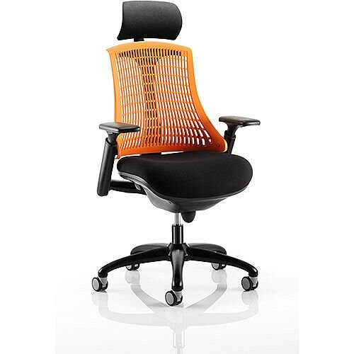 Flex Task Operator Office Chair Black Frame With Black Fabric Seat Orange Back With Arms &Headrest