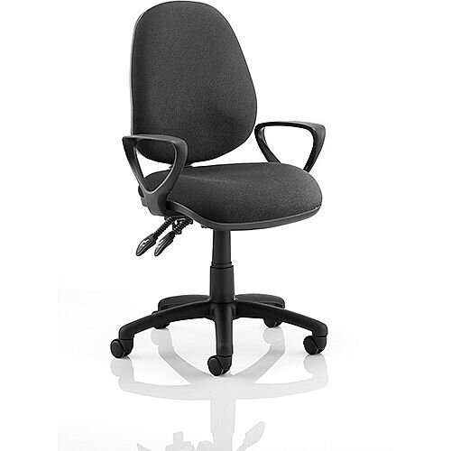Luna II Lever Task Operator Office Chair Black With Loop Arms