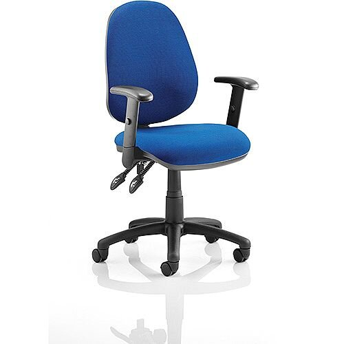 Luna II Lever Task Operator Office Chair Blue With Height Adjustable Arms