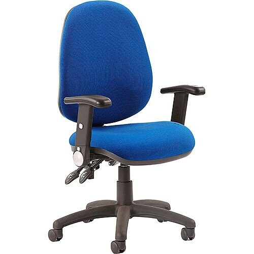 Luna II Lever Task Operator Office Chair Blue With Height Adjustable &Folding Arms