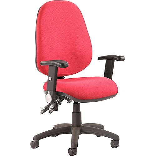 Luna II Lever Task Operator Office Chair Burgundy With Height Adjustable &Folding Arms