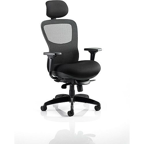 Stealth Shadow Ergo Posture Office Chair Black Airmesh Seat And Mesh Back With Arms &Headrest