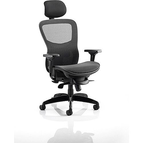 Stealth Shadow Ergo Posture Office Chair Black Mesh Seat And Back Chair With Arms &Headrest