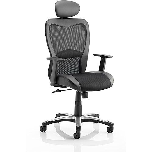 Victor II Executive Office Chair Black Leather Black Mesh With Arms &Headrest